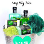 Gift basket with green soap and shamrock