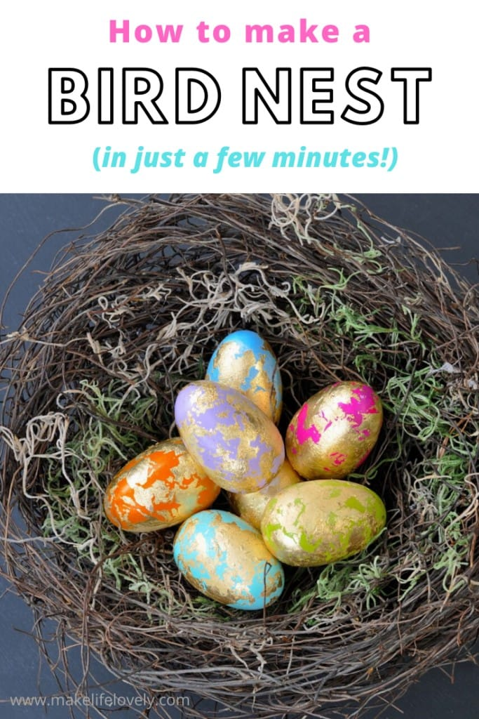 How to make a bird nest in just a few minutes with this simple DIY bird nest tutorial. This spring decoration is a great way to add a natural look to your home this Easter!