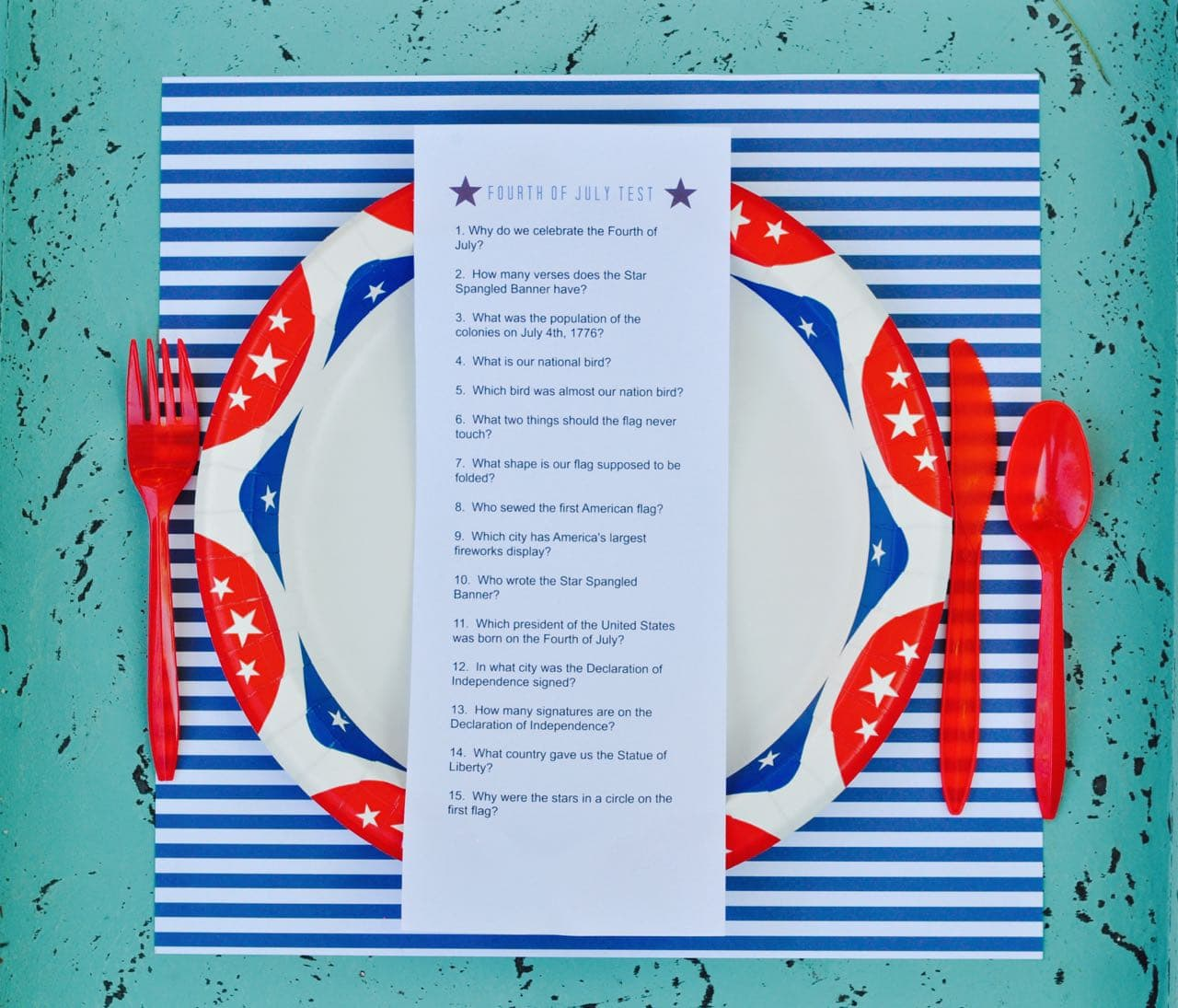 Fourth of July trivia on plate with utensils