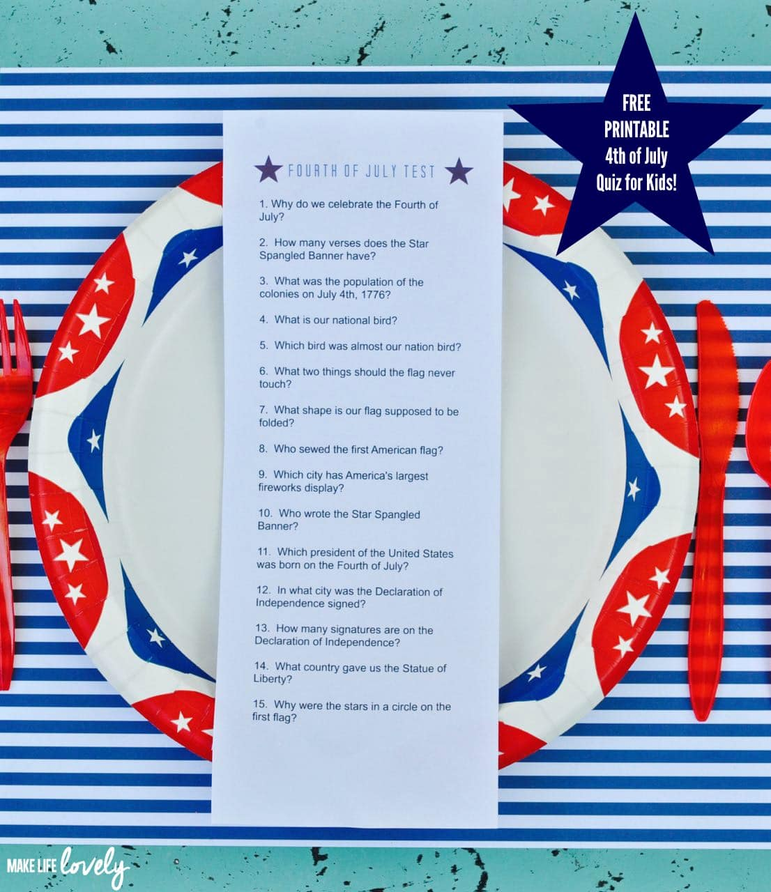 picture relating to 4th of July Trivia Printable titled Totally free Printable Fourth of July Quiz for Small children - Crank out Existence Gorgeous