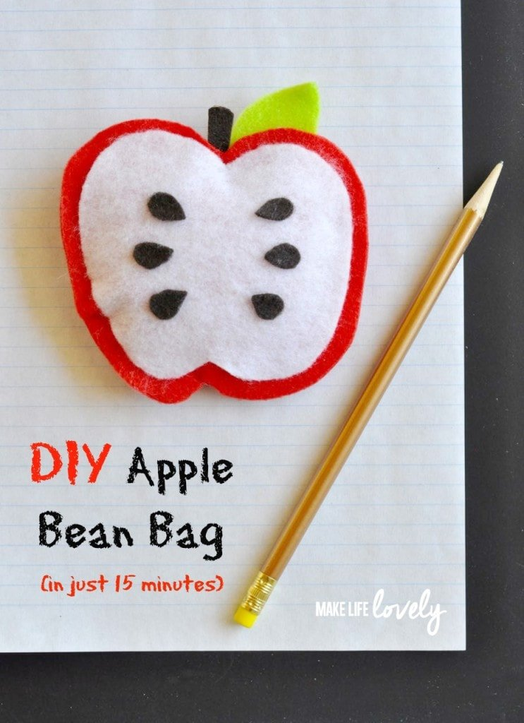 DIY Bean Bag Apple in just 15 minutes. Makes a great teacher gift!