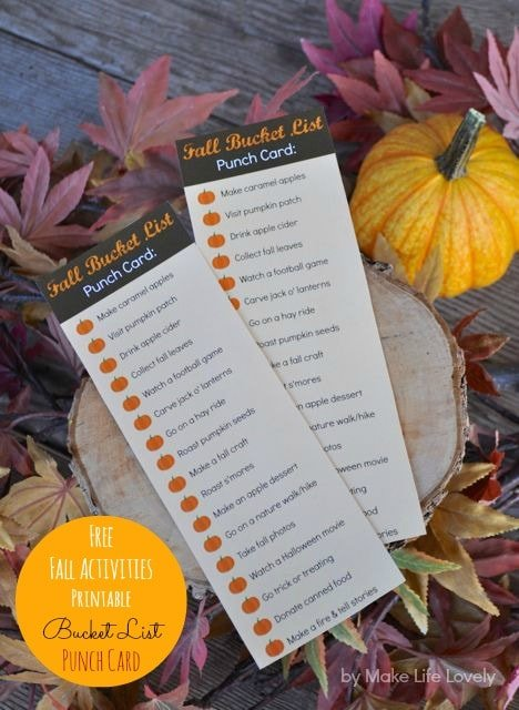 Free Fall Activites Bucket List Punch Card