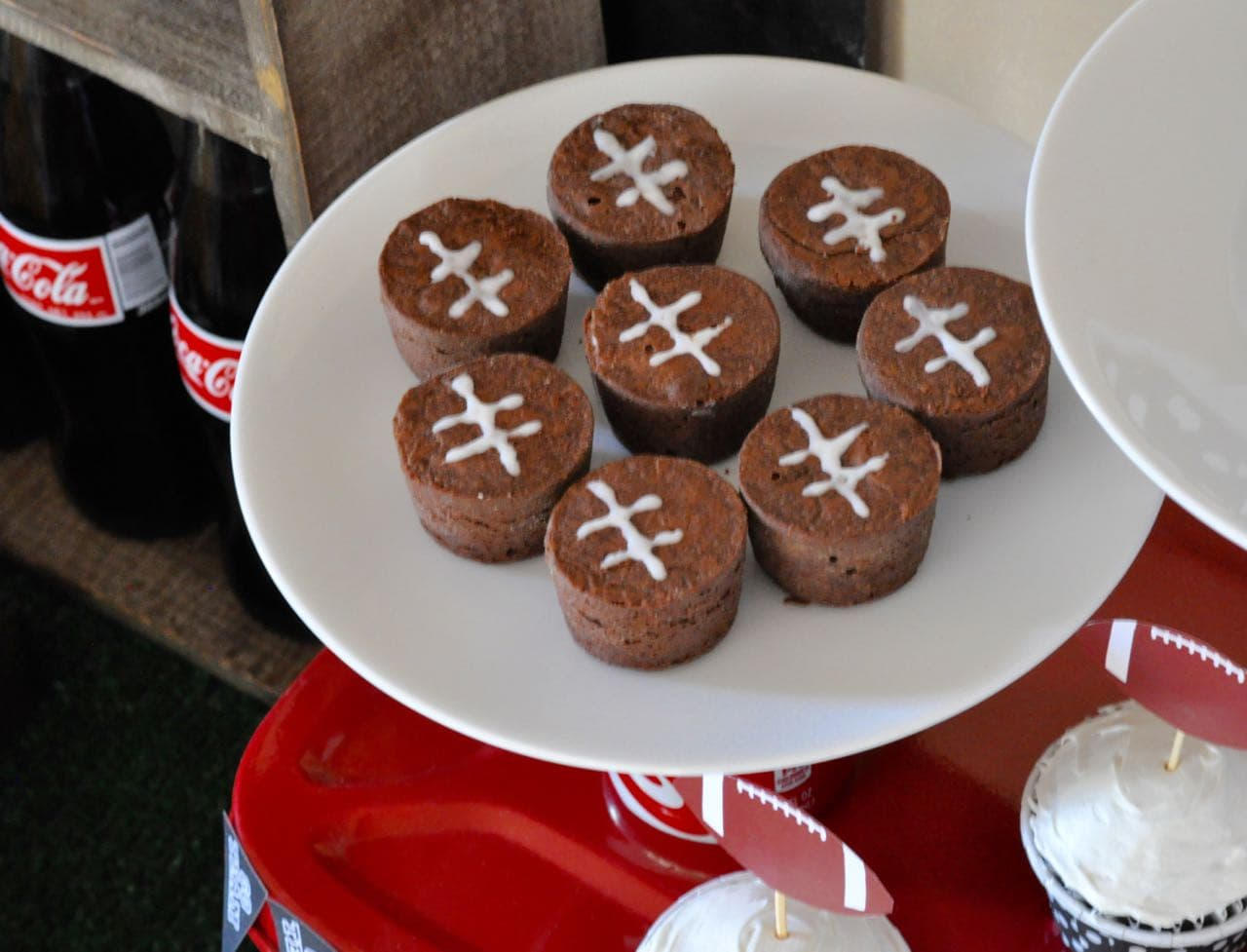 Football brownie bites