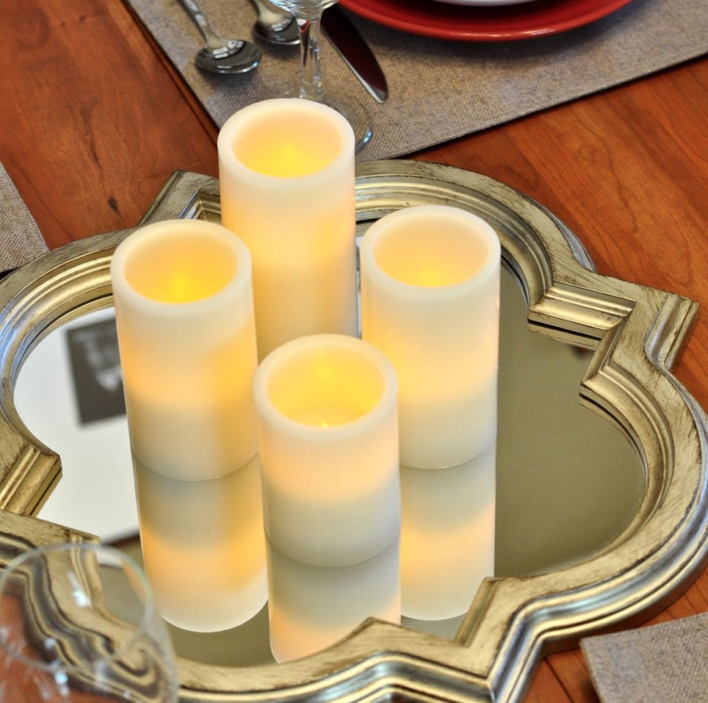 Candle and mirror centerpiece
