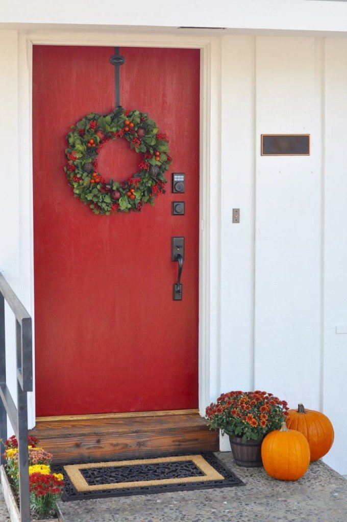 Front porch makeover with a red door