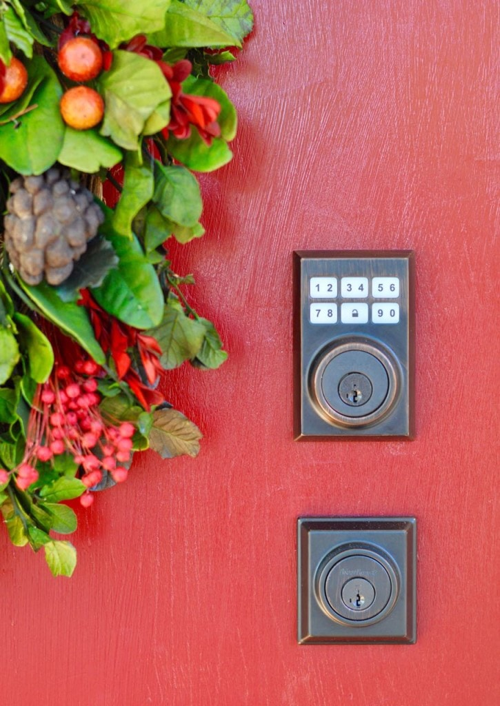 Front door makeover with red paint