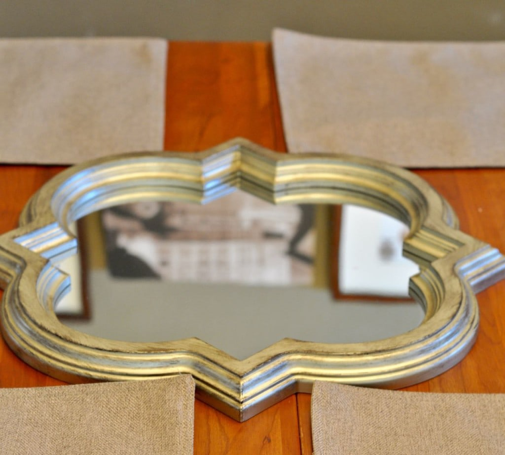 Use a mirror as a centerpiece