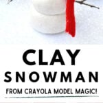 clay snowman with red scarf in white snow