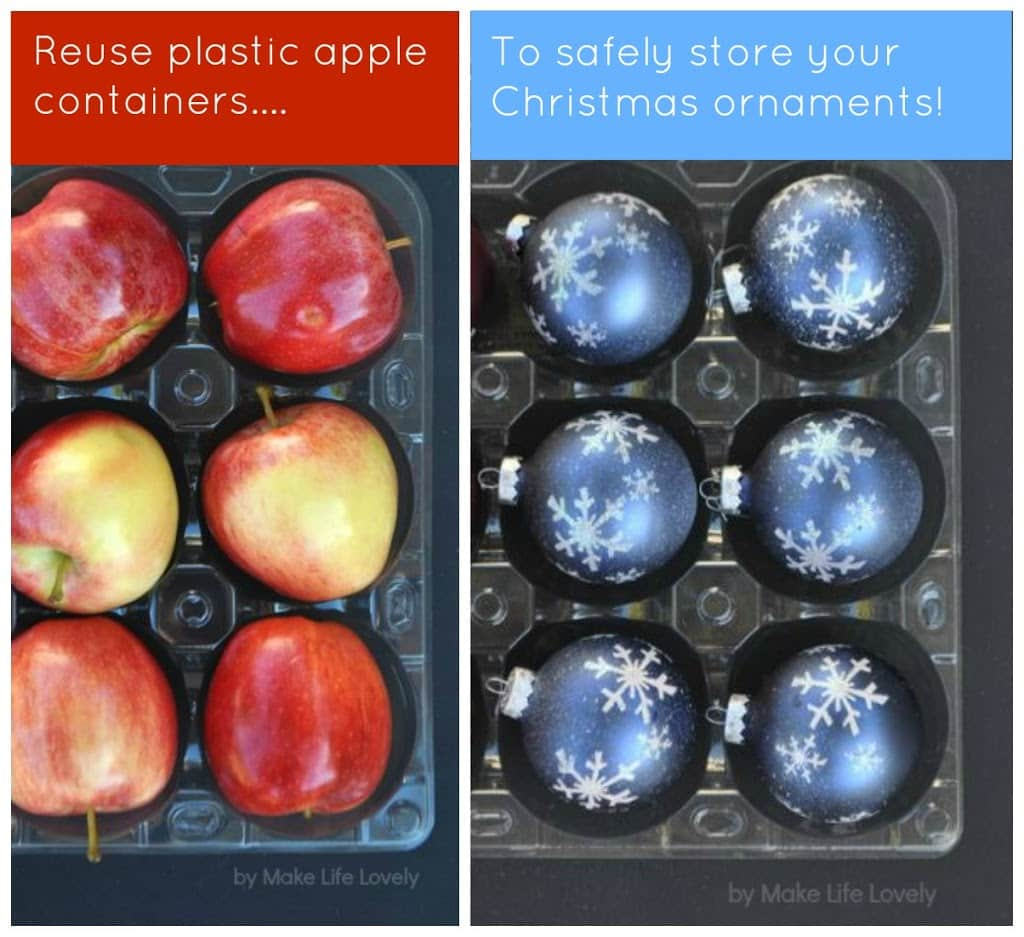 reuse plastic costco apple packaging to safely store christmas ornaments great idea