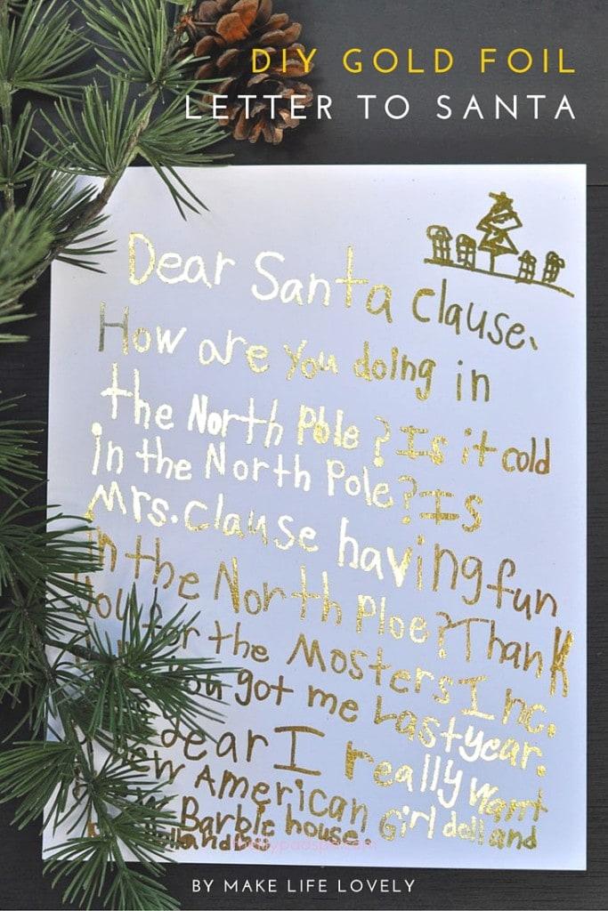 DIY gold foil letter to Santa