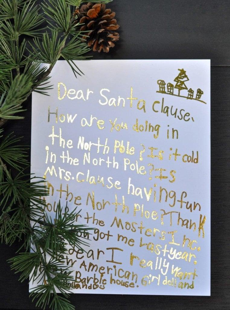 Gold Foil Letters to Santa Keepsake