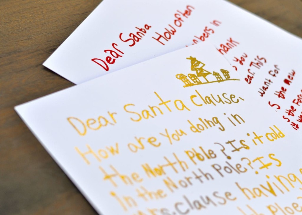 Gold foil letters to Santa
