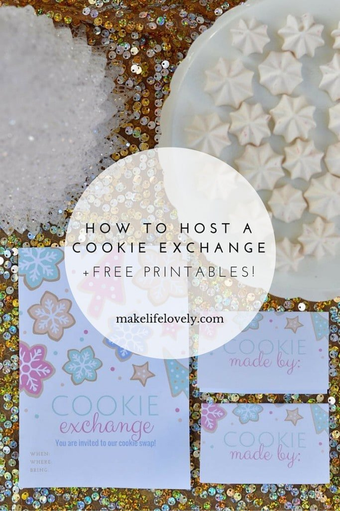 How to host a cookie exchange party + FREE cookie exchange printable invitations, labels, and recipe cards!