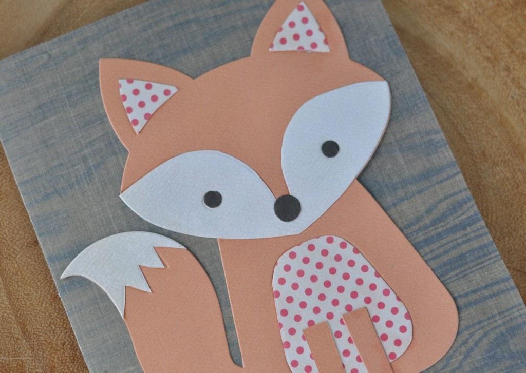 Cute fox card using Lori Whitlock's Fox #2 Sizzix die