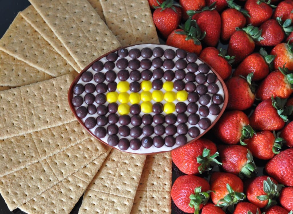 Football-Shaped Strawberry Cheesecake Dip