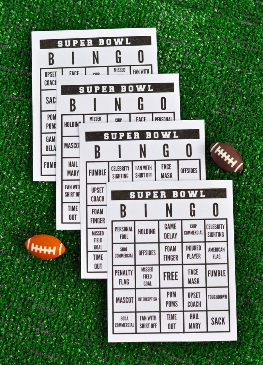 graphic about Printable Super Bowl Bingo Cards titled Tremendous Bowl Occasion + Absolutely free Printable Tremendous Bowl Bingo - Create