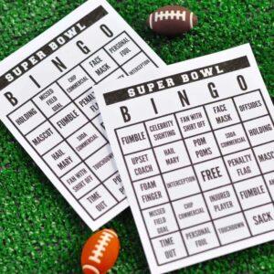super bowl bingo cards and mini footballs