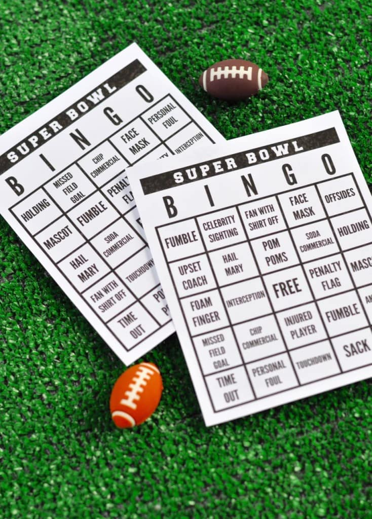 Free printable Super Bowl bingo game