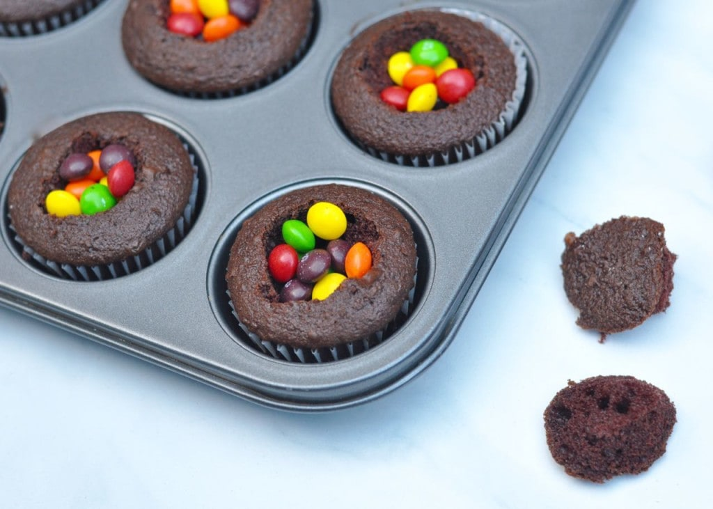 Surprise cupcake with candy inside
