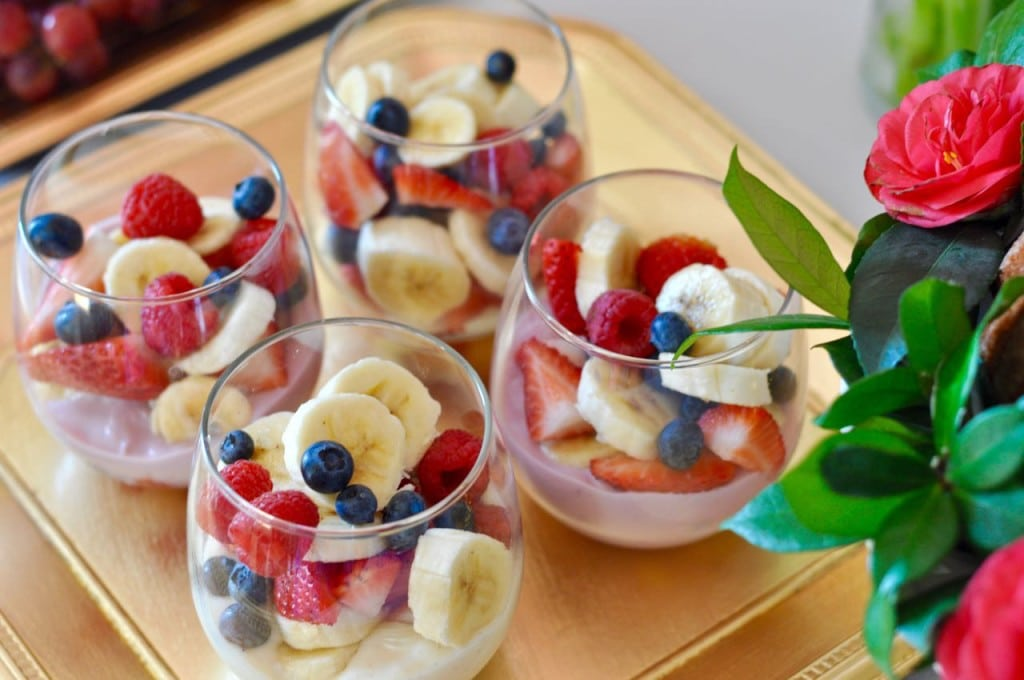 Fruit and yogurt parfaits for a brunch party