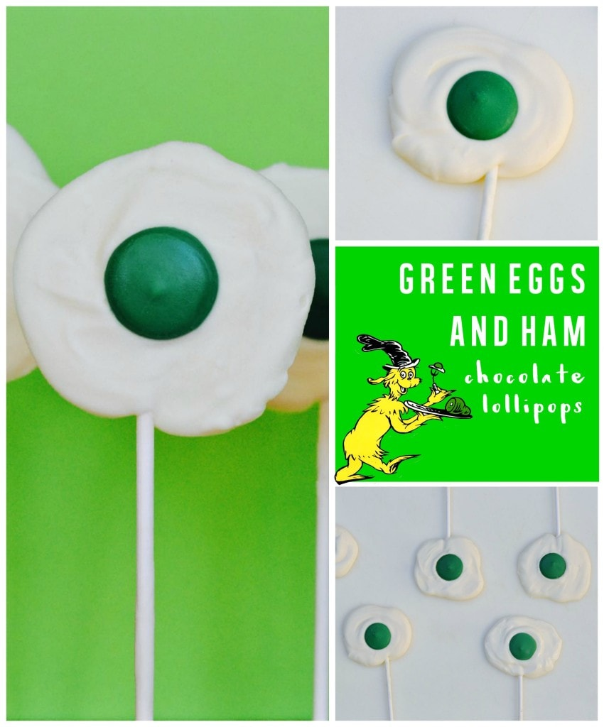 Green eggs and ham chocolate lollipops, the perfect treat to celebrate Dr. Seuss' birthday!