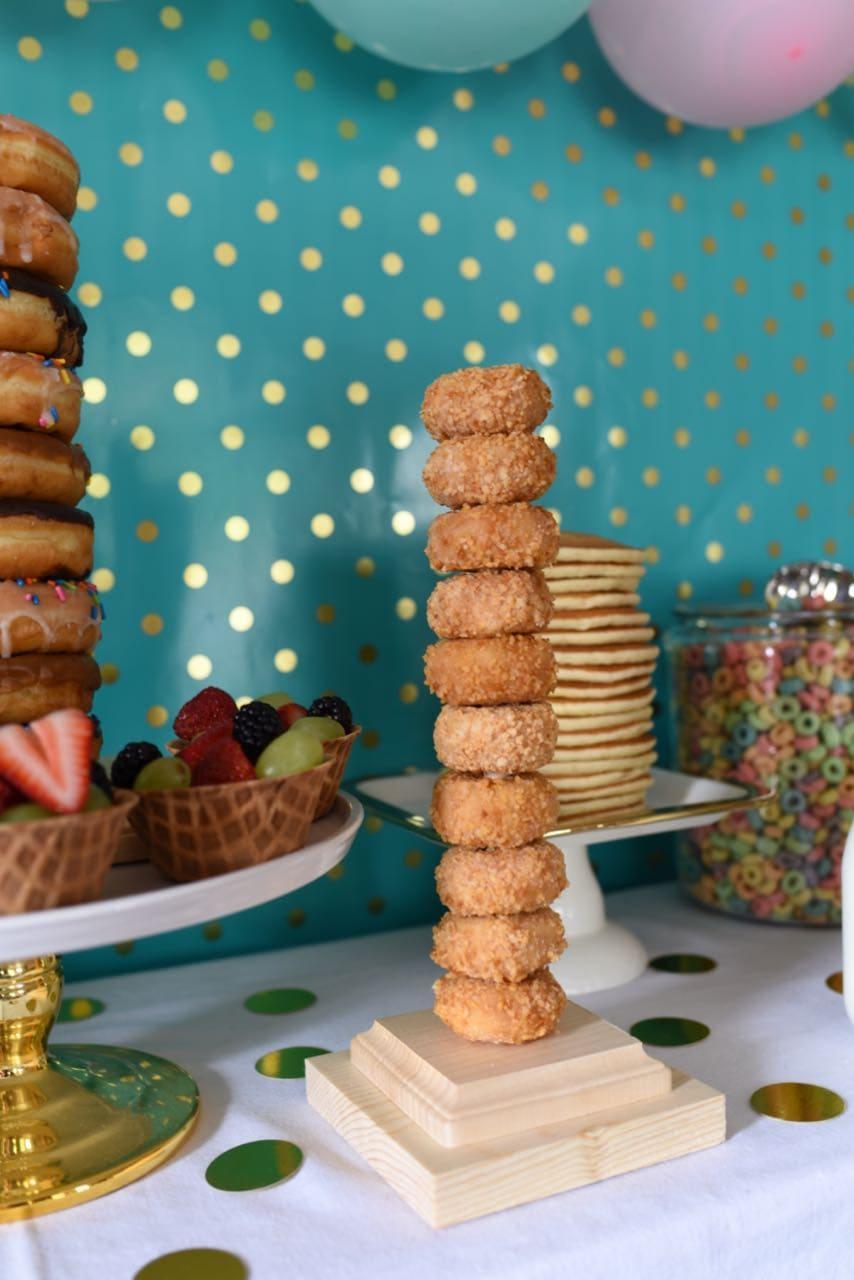 Donuts at a pancakes and pajamas party