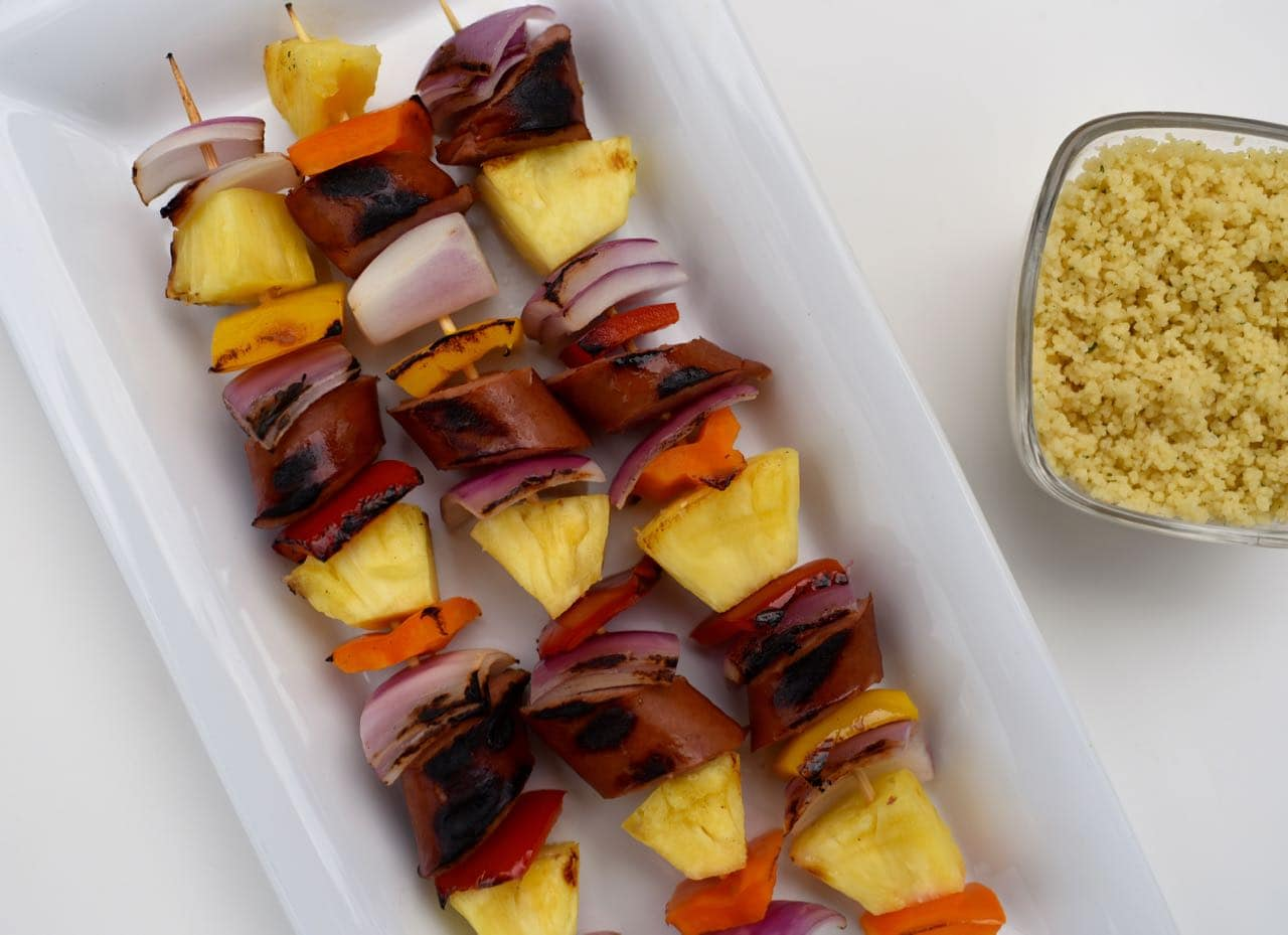 Grilled sausage kabobs with cous cous recipe