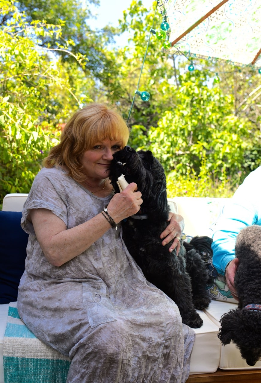 Lesley Nicol with her dogs at her home in Los Angeles