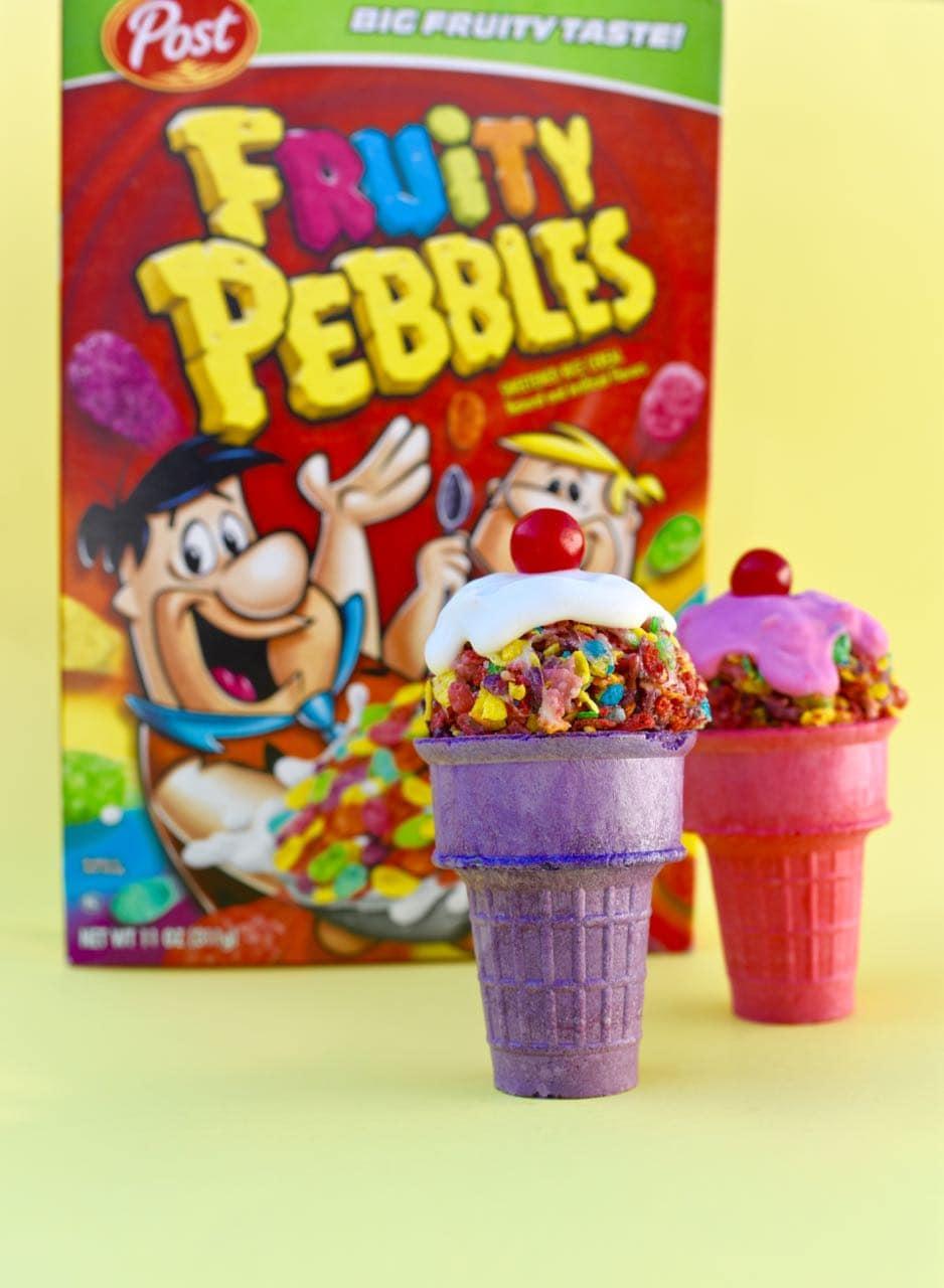 Fruity Pebbles Treats Ice Cream Cones