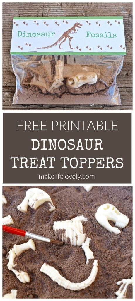FREE Dinosaur Printable Treat Toppers by Make Life Lovely