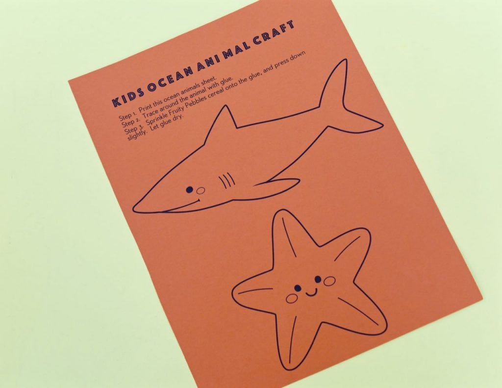 Ocean animal craft free printable