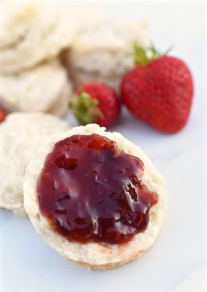 Homemade biscuits with strawberry jam