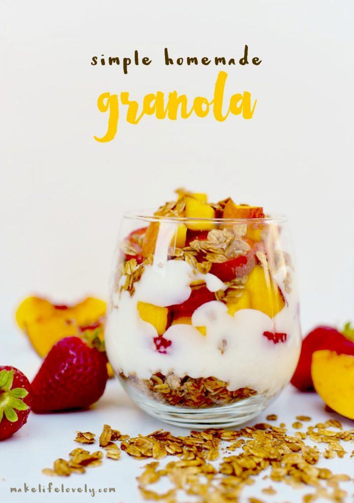 Simple homemade granola recipe. Delicious, simple, and so easy to make!
