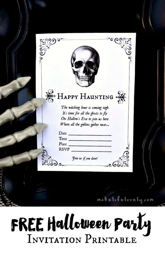 FREE printable Halloween invitations. Just print and write in your Halloween party details.  Super cute and easy!