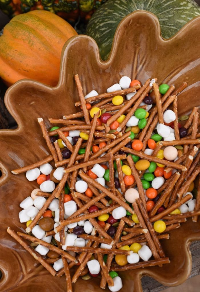 Fall Halloween snack mix at a haunted forest Halloween party