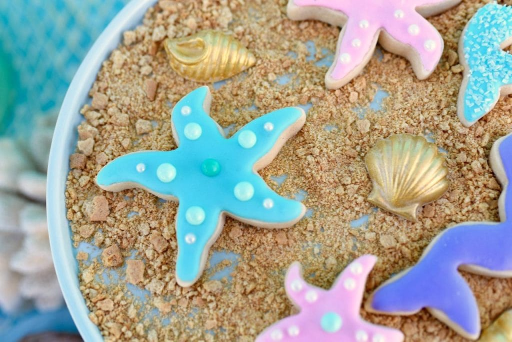 Mermaid sugar cookies for a mermaid party