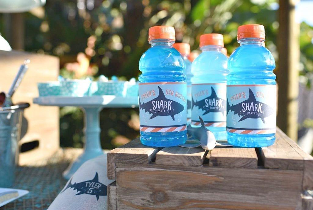 Shark birthday party drink printable