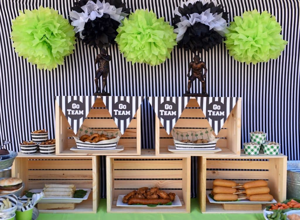 Lots of football party and football viewing party ideas
