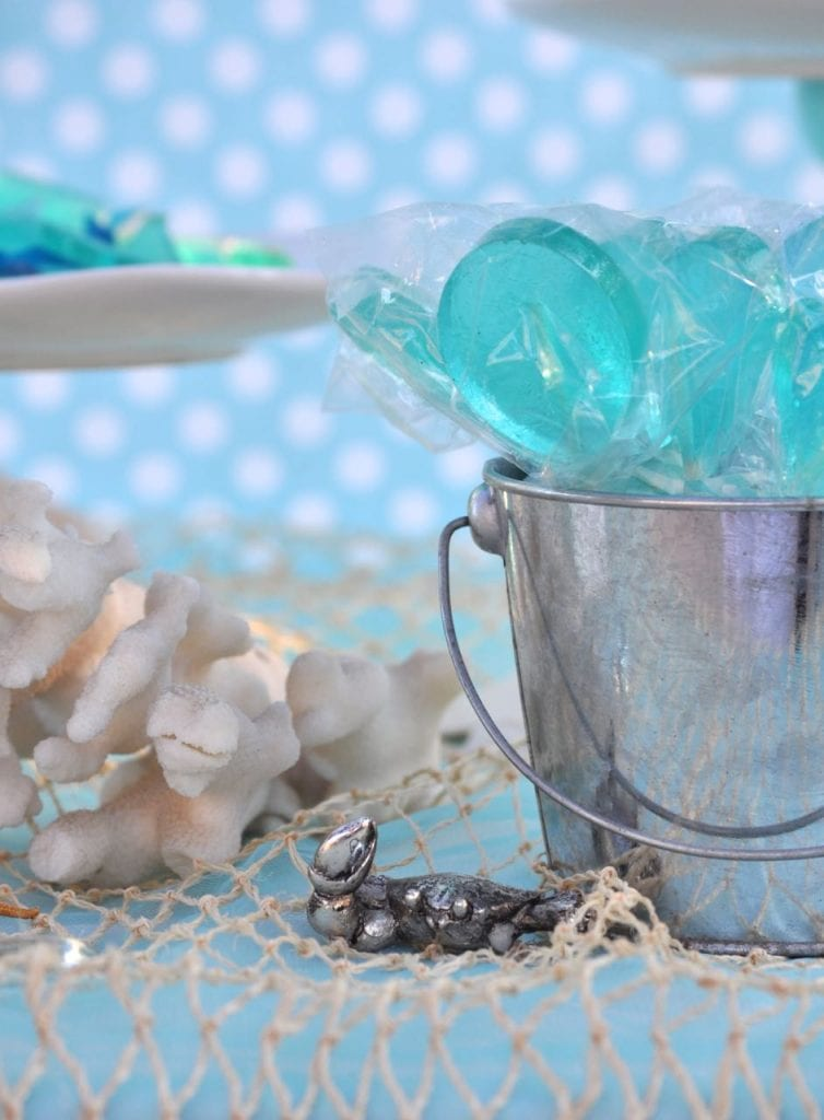 Ocean water suckers at an under the sea party or mermaid party