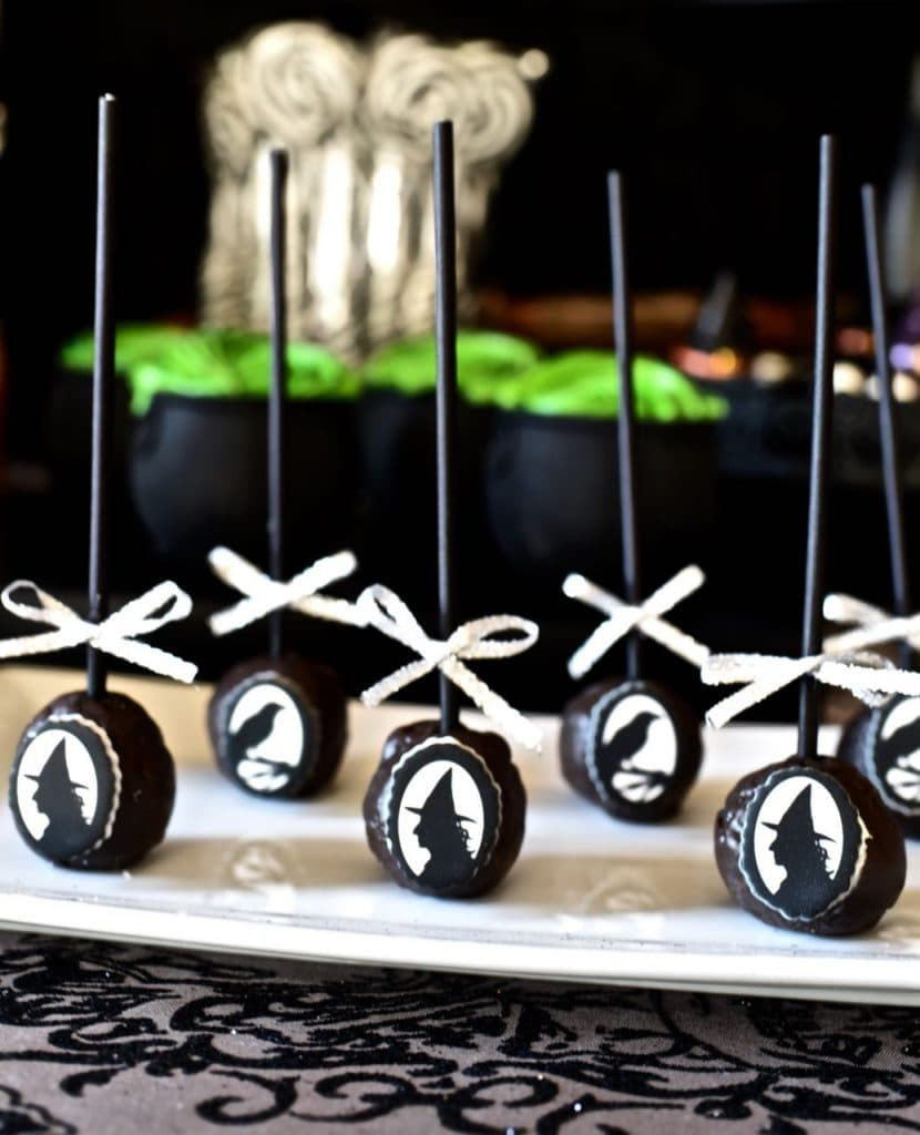Witches tea party silhouette donut pops. Yummy Halloween treat in less than 10 minutes!