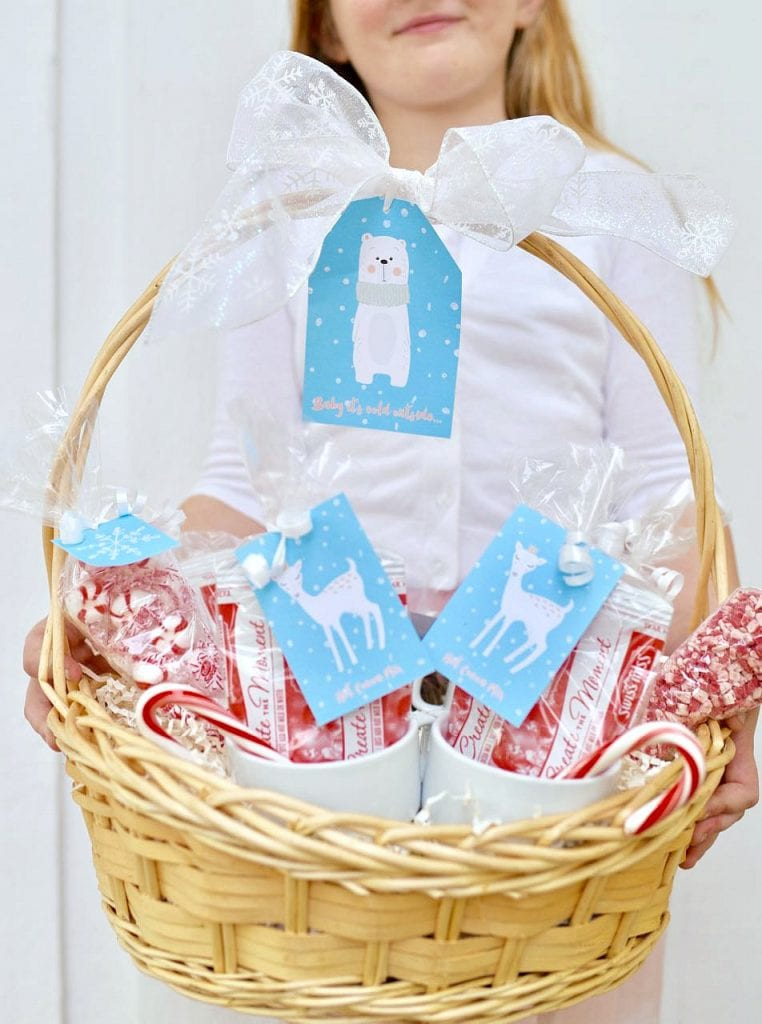 Hot cocoa gift basket Christmas gift idea with free printables
