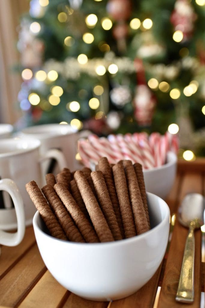 Hot cocoa bar at a tree trimming party