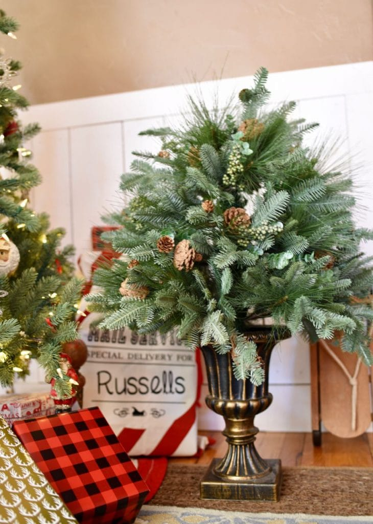 Balsam Hill potted foliage in Christmas living room