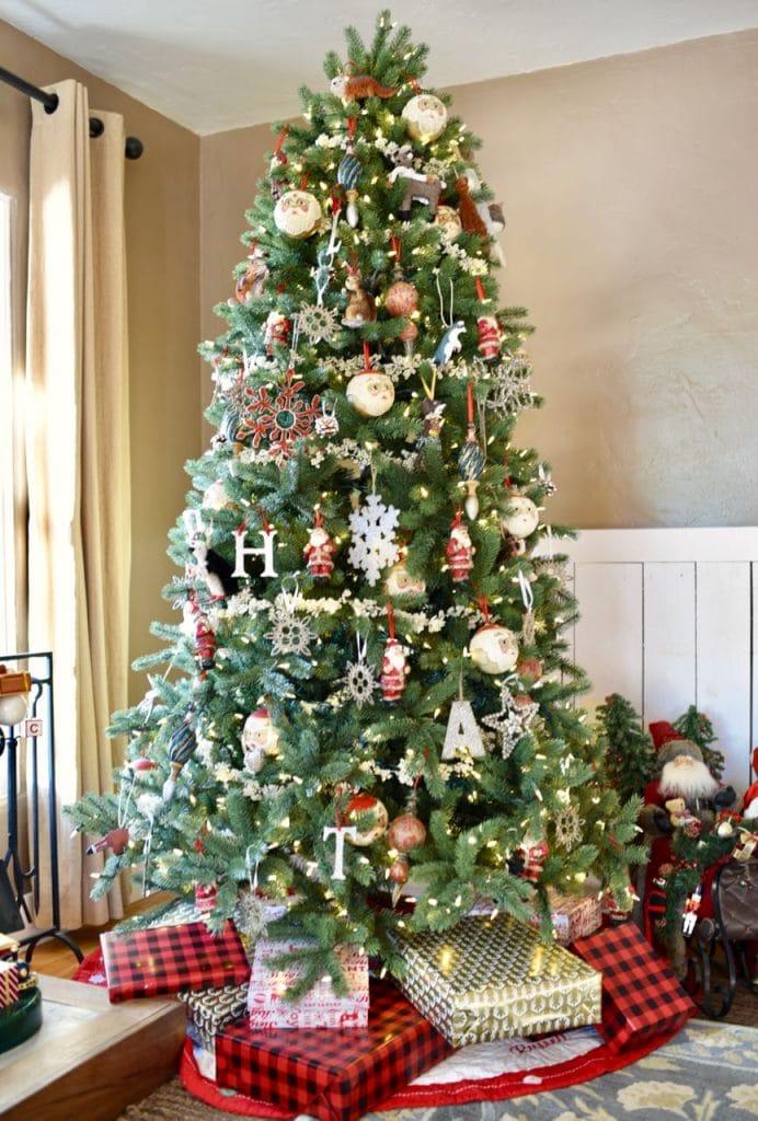 Christmas tree in Christmas living room tour