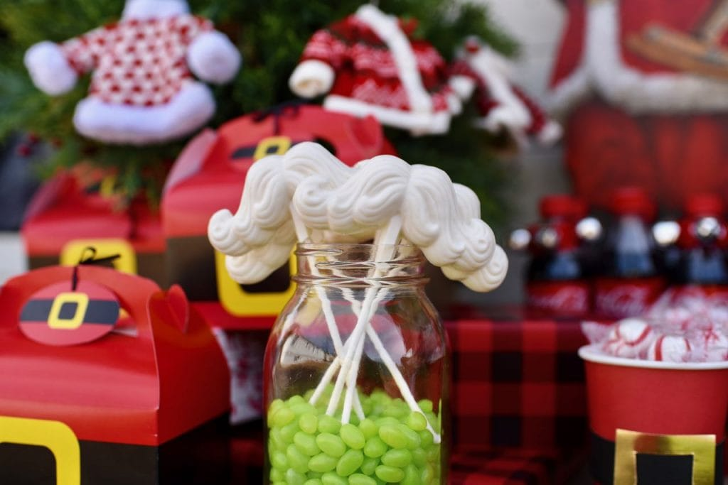 Santa mustache suckers at vintage Santa party