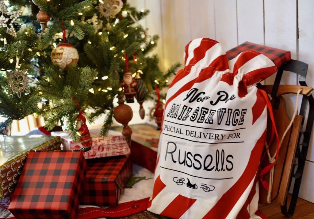 Santa's bag in Christmas living room