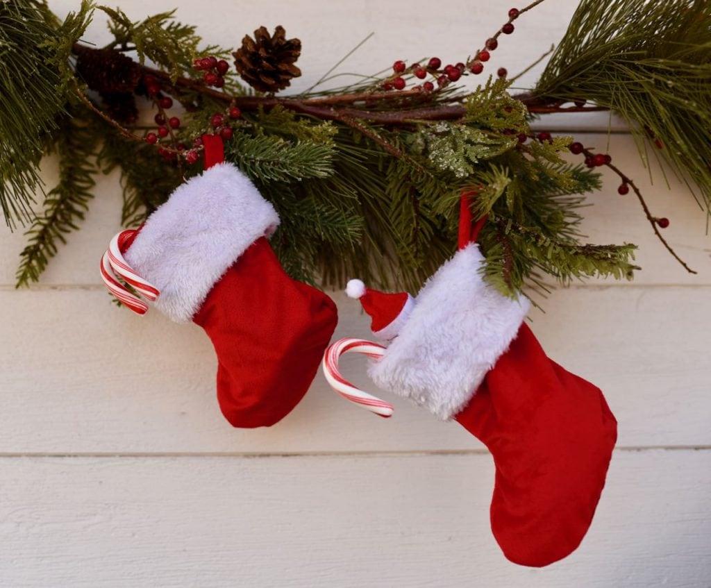 Stockings hanging at vintage Santa party