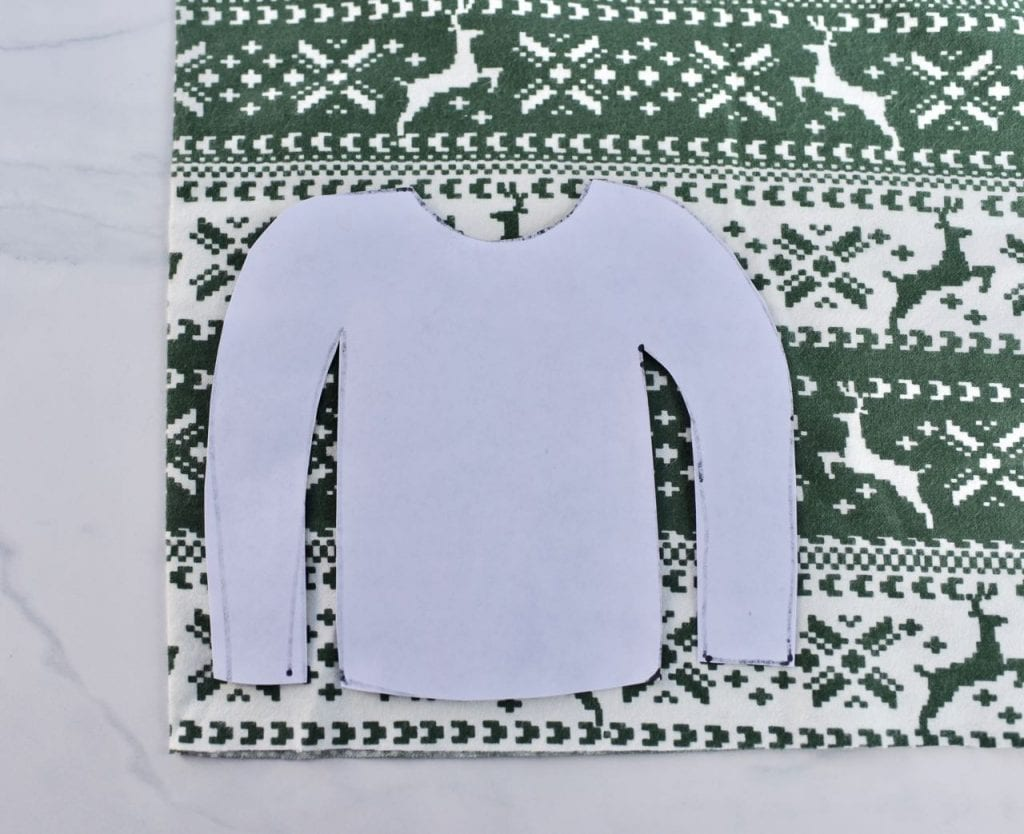 Trace the front of the ugly Christmas sweater