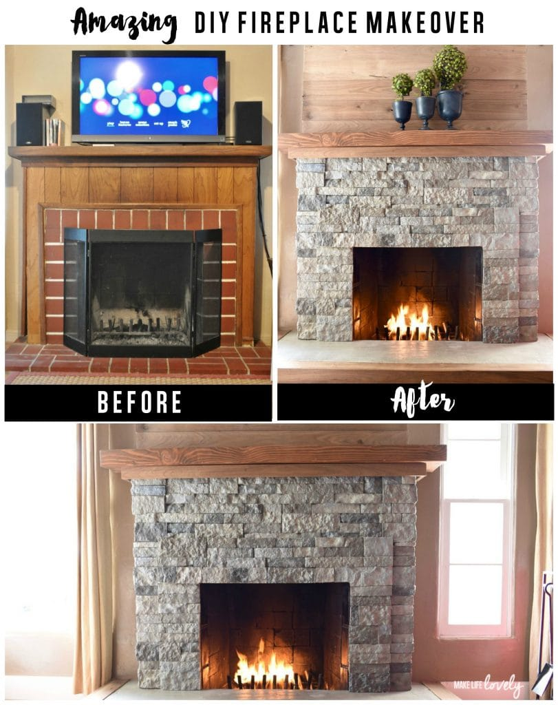 AirStone fireplace Makeover. It's easy to makeover that ugly brick fireplace and turn it into lovely stone using AirStone. Just follow this simple DIY!