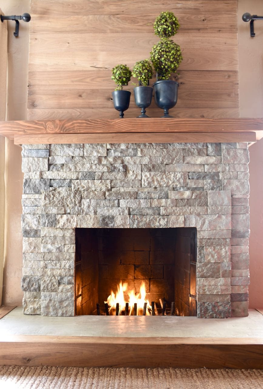 stone fireplace ledger interlocking dark gray makeover painted brick crystal grey panel white
